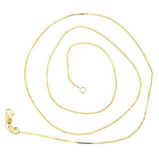 Luxurman Solid 14k White or Yellow Gold Classic Box Chain 1-millimeter Wide Necklace with Lobster Claw Clasp