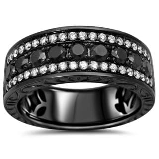 Noori 14k Black Gold Men's 1 2/5ct TDW Black and White Diamond Wedding Band
