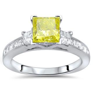 Noori 14k White Gold 1 3/4ct Yellow Princess-cut Diamond 3-stone Engagement Ring (G-H, SI1-SI2)