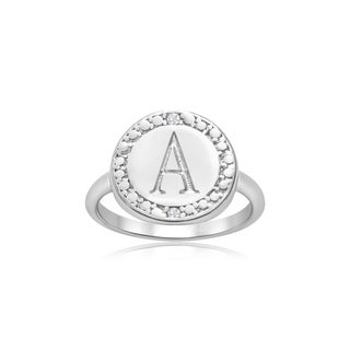 Personalized Initial Diamond Ring In Sterling Silver (Option: 5)