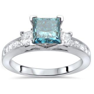 Noori 14k White Gold 1 1/2ct TDW Blue Diamond 3-stone Engagement Ring