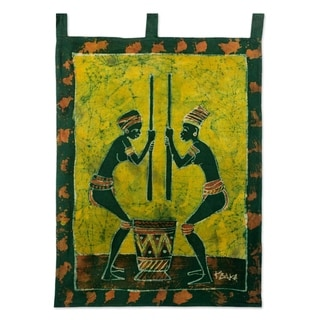 Handcrafted Cotton 'We Shall Eat' Batik Wall Hanging (Ghana)