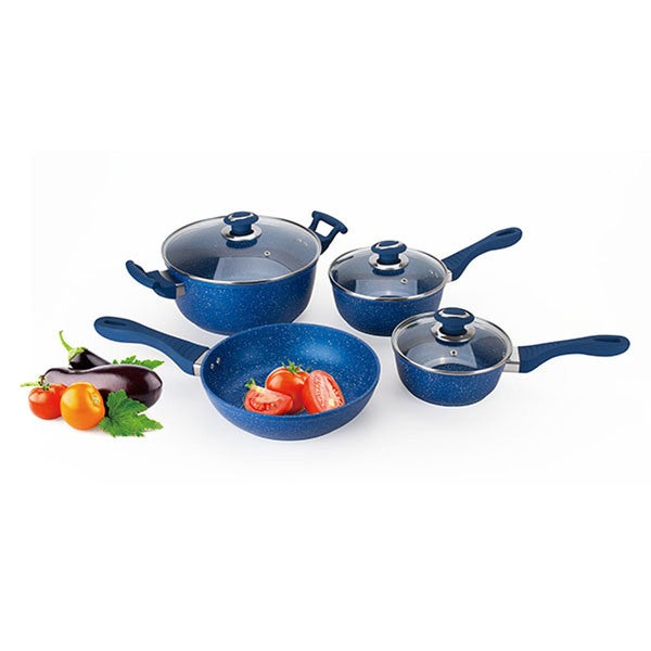 Marble nonstick coated aluminum cookware set 7 pieces for Art and cuisine cookware