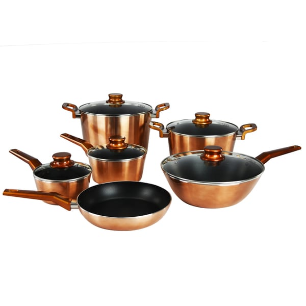 Aluminum 11 piece nonstick cookware set free shipping for Aluminum cuisine