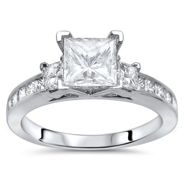 Noori 14k White Gold 1 1/2ct TDW Enhanced Princess-cut 3-stone Diamond Engagement Ring
