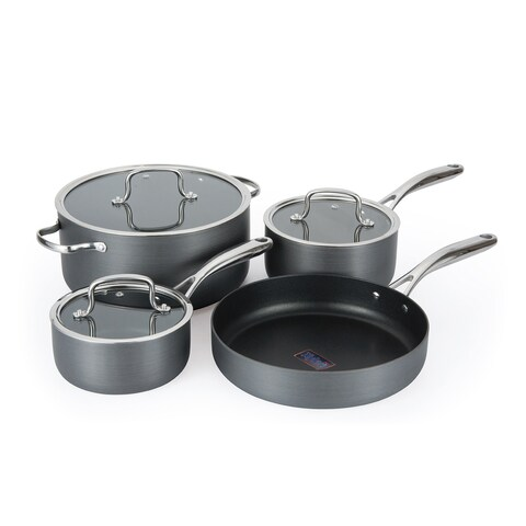 Hamilton Beach Grey Anodized Aluminum 7-piece Cookware Set