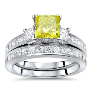Noori 14k Gold 2 1/4ct TDW Princess-cut Yellow Diamond 3-stone Engagement Ring Set