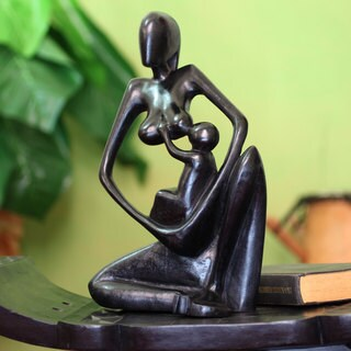 Handcrafted Mahogany Wood 'Thank You Mother' Sculpture (Ghana)