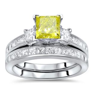 Noori 14k Gold 2ct TDW Yellow Princess-cut Diamond 3-stone Engagement Ring Set