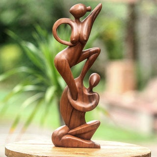 Handmade Suar Wood 'Gymnast Couple' Statuette (Indonesia)