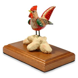 Handcrafted Ceramic 'Red Rooster' Sculpture (Guatemala)