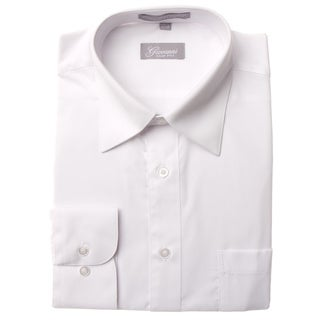 Giovanni Men's White Convertible Cuff Dress Shirt (34/35) in White (As Is Item)