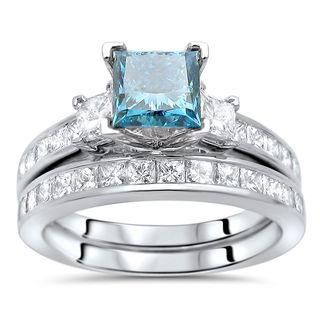 Noori 14k Gold 2ct TDW Blue Princess-cut Diamond 3-stone Engagement Ring Set (G-H, SI1-SI2)