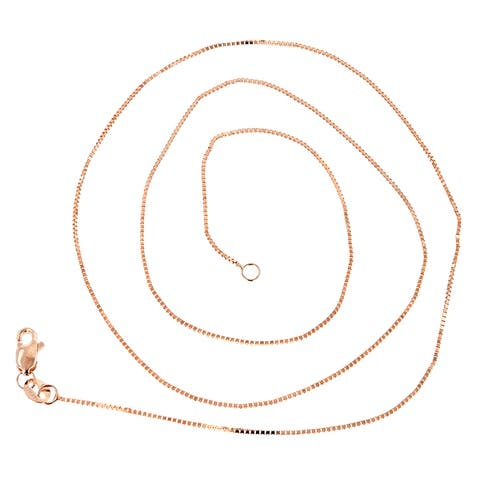 IcedTime Solid 14k Gold Classic Box Chain 0.5mm Wide Necklace Lobster Clasp