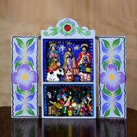 Handmade Plywood Ceramic 'Blue Christmas' Retablo Diorama (Peru)