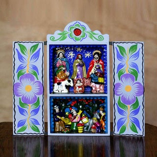 Handcrafted Plywood Ceramic 'Blue Christmas' Retablo Diorama (Peru)