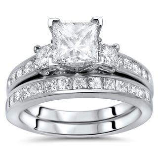 Noori 14k Gold 2 1/4ct TDW Princess-cut Diamond Enhanced 3-stone Engagement Ring Set
