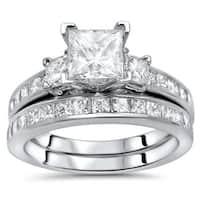 Noori 14k Gold 2ct TDW Princess-cut Diamond 3-stone Engagement Ring Set - White