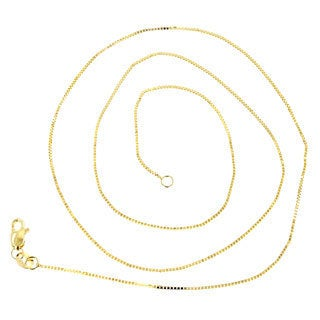 Luxurman 10k White or Yellow Gold 1-millimeter Box Chain Necklace With Lobster Claw Clasp
