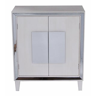 Avery Collection White Wood 2-door Mirrored Library Cabinet