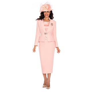 Giovanna Collection Pink Brocade 3-piece Skirt Suit