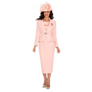Giovanna Collection Peach Brocade 3-piece Skirt Suit