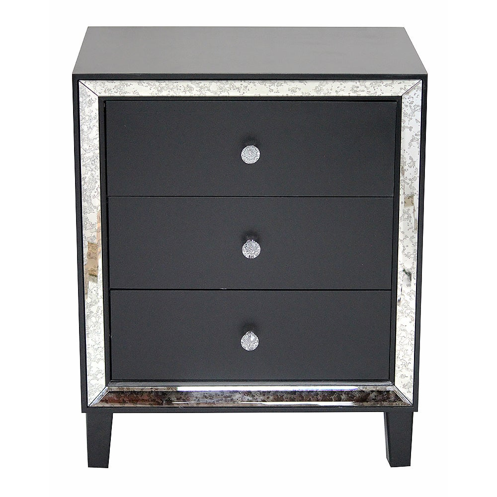 Avery Collection Black and Grey Wood 3-drawer Cabinet Wit...