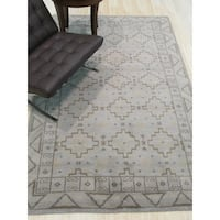 Hand-knotted Wool Gray Traditional Geometric Sivas Rug - 10' x 14'
