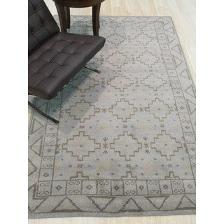 EORC Sivas Geometric Grey Wool Hand-knotted Area Rug (8' x 10')