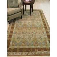 Hand-tufted Wool Green Traditional Floral Morgan Rug - 5' x 8'