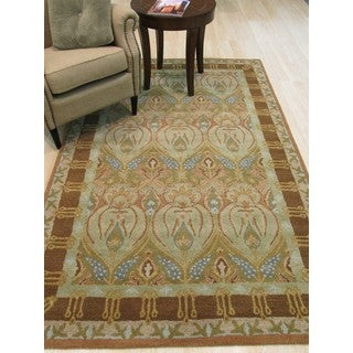Hand-tufted Wool Green Traditional Floral Morgan Rug (7'9 x 9'9)