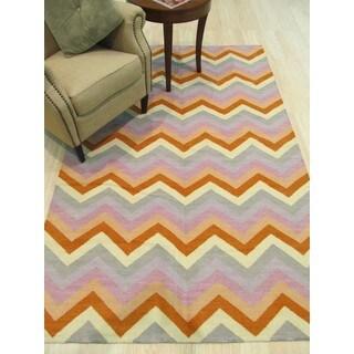 EORC Multicolor Wool Handmade Reversible Flatweave Chevron Rug (9' x 12')