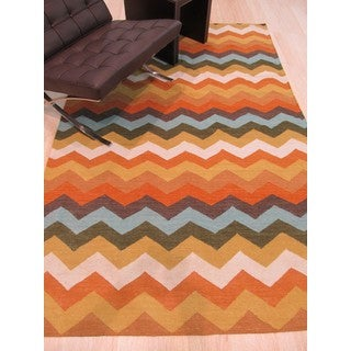 EORC Multicolored Wool Handmade Reversible Flatweave Chevron Rug (9' x 12')