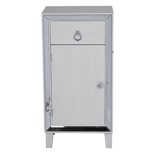 Avery Collection White Wood 1-door, 1-drawer Cabinet With Clear Mirror