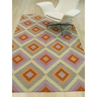 EORC Multicolored Wool Handmade Reversible Flatweave Hollie Rug (9' x 12')