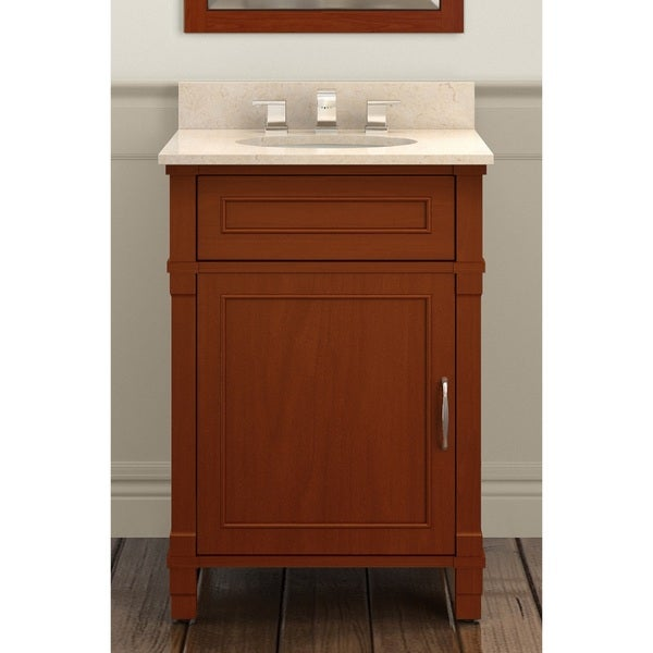 Alaterre Williamsburg Chestnut Wood 24 Inch Bath Vanity Set With 25 Inch Wide Marble Sink Top