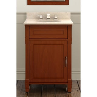 Alaterre Williamsburg Chestnut Wood 24-inch Bath Vanity Set with Marble Sink Top