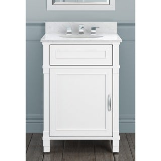 Alaterre Williamsburg White/Beige Wood/Veneer/Marble Bath Vanity Set