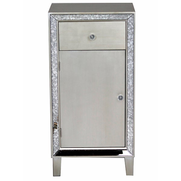 Avery Collection Grey Wood Antique Mirror Tall Console Cabinet ...