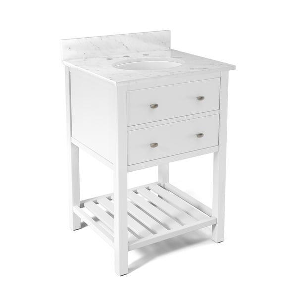 Shop alaterre harrison white carrera marble sink top with - 24 inch bathroom vanity top with sink ...
