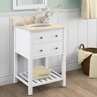 Alaterre Harrison White Carrera Marble Sink Top with 24-inch Single Sink Bathroom Vanity