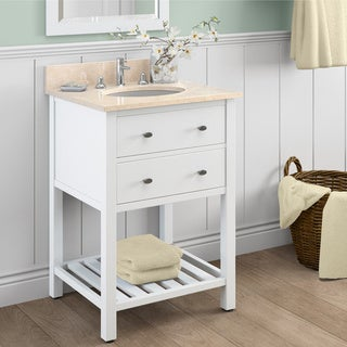 Alaterre Harrison White Carrera Marble Sink Top with 24-inch Single Sink Bathroom Vanity