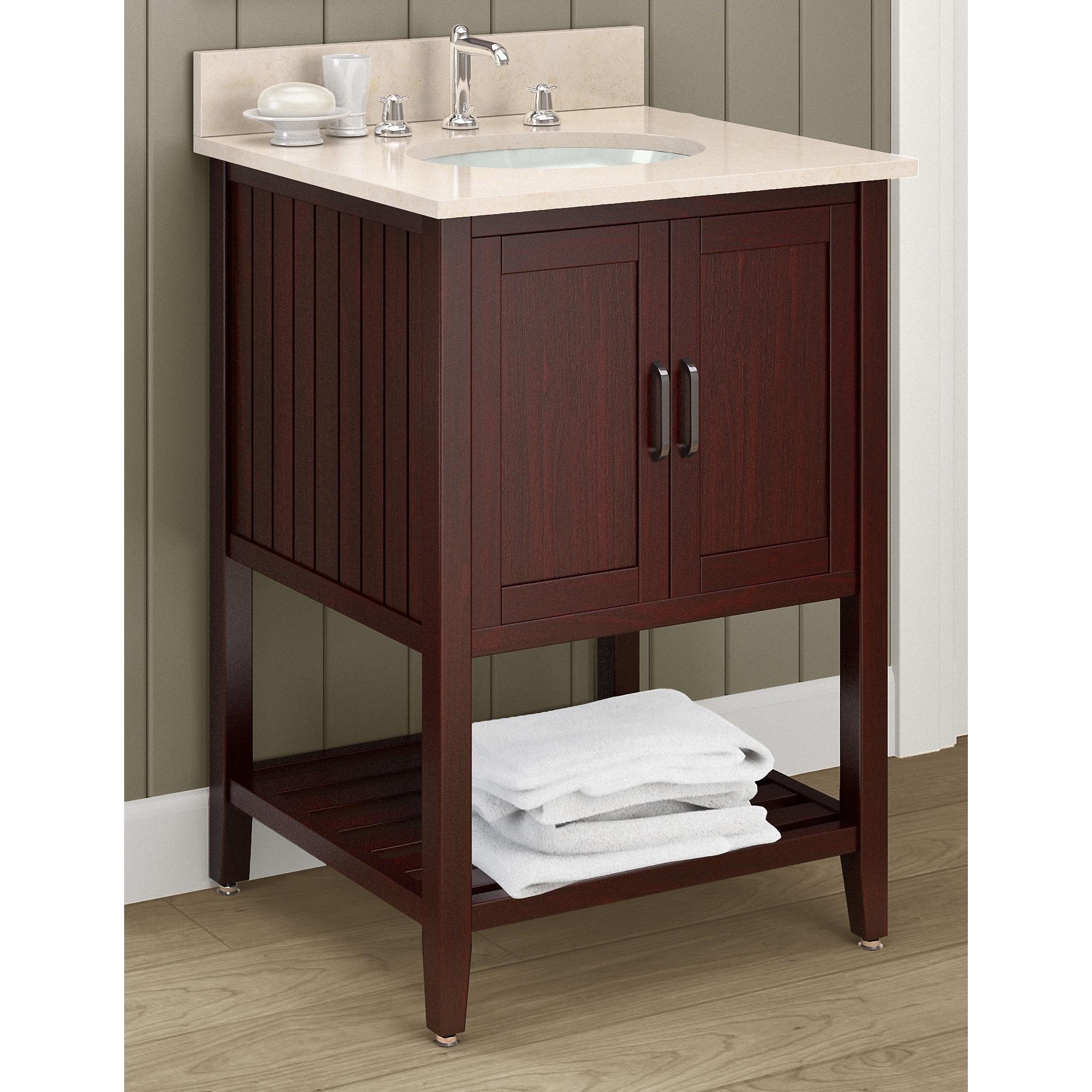 Alaterre Bennett 25 Inch Wide Marble Sink Top With 24 Inch Espresso Wood Bathroom Vanity Set Overstock 13134027