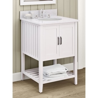 Alaterre Bennett White Veneer and Wood 24-inch Bath Vanity with Marble Sink Top Set