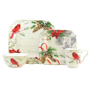 Holiday Wishes Green/Red/White Porcelain 16-piece Dinnerware Set