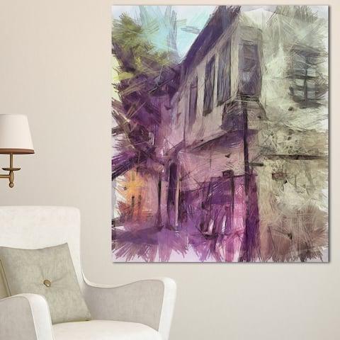 Designart 'Old City Street Watercolor Sketch' Large Cityscape Artwork Print on Canvas - Purple
