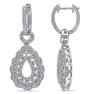 Miadora 1/2ct TDW Diamond Vintage Open Teardrop Dangle Earrings in Sterling Silver