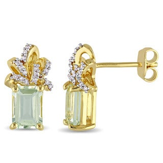 Laura Ashley Yellow Plated Sterling Silver Green Amethyst and 1/10ct TDW Diamond Ribbon Stud Earrings (G-H, I2-I3)