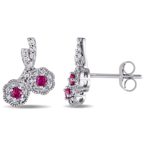 Laura Ashley 10k White Gold Created Ruby and 1/6ct TDW Diamond Double Flower Stud Earrings (G-H, I2-I3) - Red