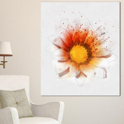 Designart 'Yellow Orange Flower Watercolor' Flower Artwork Print on Canvas